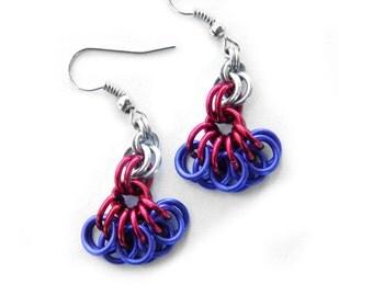 Fuchsia Earrings, Flower Earrngs, Chainmail Flowers, Flower Jewelry, Bold Jewelry, Dangle Earrings, Bold Earrngs, Chainmail Earrings
