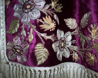 SALE Breathtaking true antique table cover french magenta embroidered beau vais silk