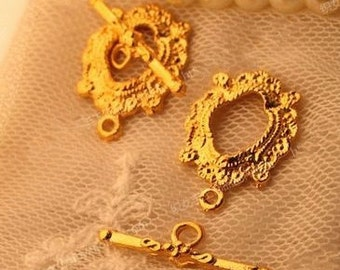 "20 sets of Antiqued gold fancy toggle clasps ""OT"" clasps 25x17mm"