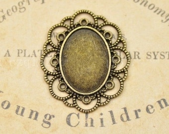 Cabochon Base Settings-20pcs Antique bronze or silver ellipse base Flower Cameo Charm Pendants 18x25mm