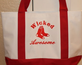 Red Sox Wicked Awesome Embroidered Tote Bag