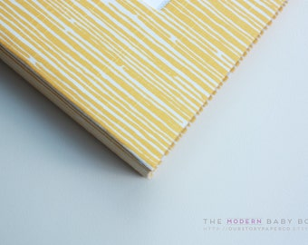 Free shipping. MODERN Baby Book // Yellow and White Lines Cover // Perfect memory keepsake & shower present // 90 journaling pages //