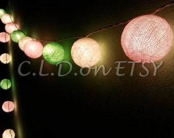 Pastel pink cream and green mix Cotton Ball Wedding Holiday/Party String Lights 20 Lanterns