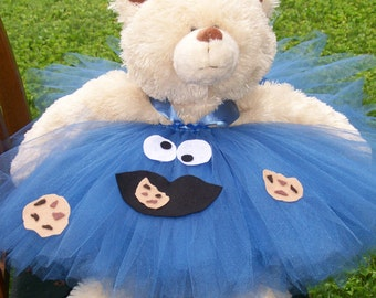 Girl Cookie Monster Costume, Baby cookie Monster dress, Infant cookie Monster Hallowen Costume, Size Infant/12 months