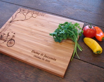 Personalized Cutting Board with Tree and Tandem Bike Couple's Anniversary Gift Wedding Present Bridal Shower Gift