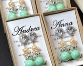 Peach coral & Mint-Wedding Jewelry Bridesmaid Gift Bridesmaid Jewelry Bridal Jewelry  blush pink Pearl Drop Earrings Cubic Zirconia Earrings