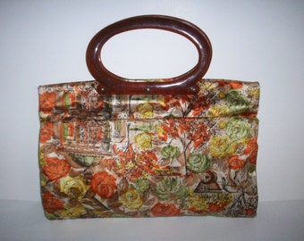 Vintage Floral Fabric Purse Tote Bag