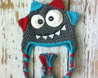 Crochet baby monster hat grey 0-5T