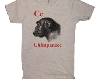 C for Chimpanzee Antique Print English Alphabet  Adult Short Sleeve T-shirt.