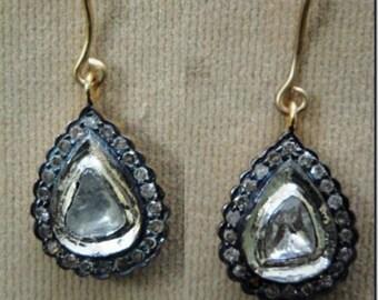 Victorian 1.65ct Rose Cut Diamond & Polki Earrings, Free Shipping