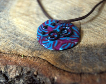 Psychedelic Pendant, Polymer Clay, Pink(UV active) and blue with black spirals