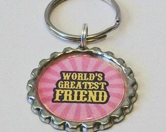 Pretty Pink World's Greatest Friend Metal Flattened Bottlecap Keychain Great Gift