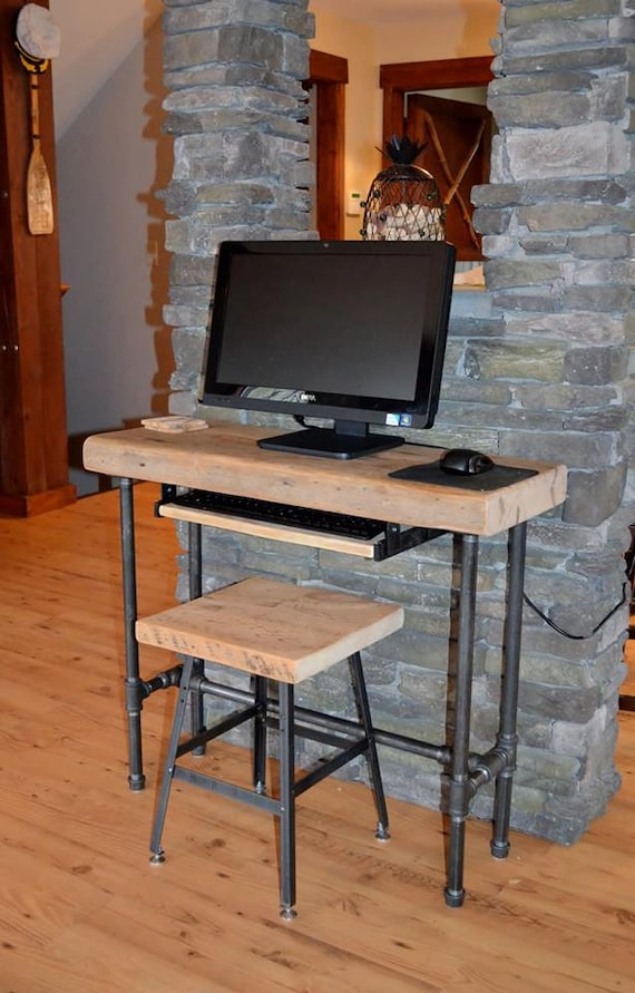 Small urban wood laptop computer desk reclaimed by dendroco for All wood computer desk
