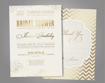 Bridal Shower Golden Flowers Invitation / White and gold Printable invitation / DIY