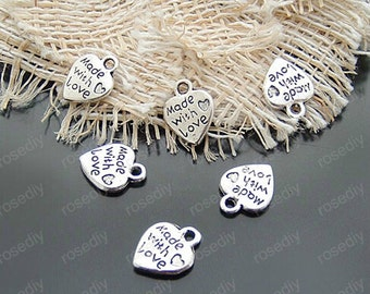 15pcs 12x9mm Antique Silver Made with Love Tags Charm Pendant