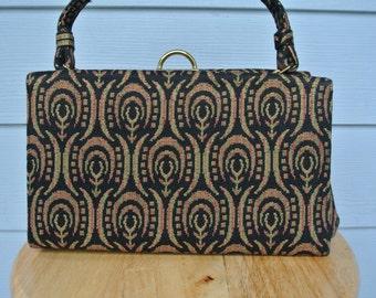 50s Kelly Satchel Handbag Metallic Gold Brocade Tapestry by Miss Lewis RARE