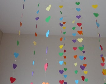 rainbow party // heart streamers // valentines day decorations // girl birthday party decorations // rainbows // set of 5