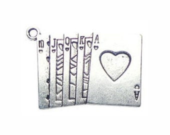5 Silver Playing Cards Charm Gambling Pendant 24x33mm by TIJC SP0207