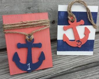 Nautical wedding table numbers, seaside wedding, beach wedding
