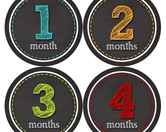 Monthly Stickers Monthly Baby Stickers Baby Month Milestone Stickers Baby Month Stickers Month to Month Bodysuit Stickers Shower Gift 313