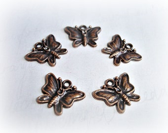 6 Antique Copper Butterfly Charms