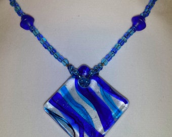Glass Pendant Beaded Necklace