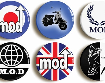 Mod badges buttons pins: Set of six Classic Mod Logo. Sixties fancy dress costume accessory (1inch/25mm diameter)