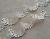 2 Yards Pretty Bridal Veils Lace Trim in Ivory For Weddings, Dress, Baby, Sewing, Costume Design