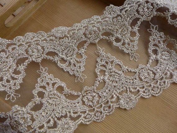 Gold Lace Trim Retro Sytle Embroidered Lace Gold Bridal