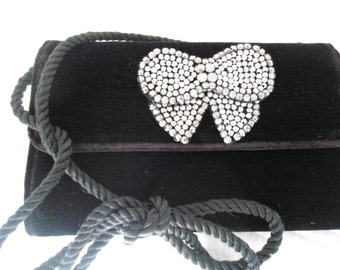 Talbot's Black Velvet Purse with Silver  Beaded Accent
