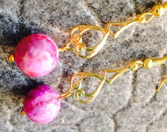 Pink stone earrings with gold chandelier dangle