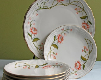 Plates. Porcelain Plates by Southington  Silesia Walbrzych. Trellis Pattern. Set of Two large and Six Smaller Plates.