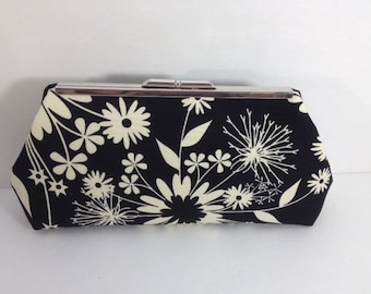 Black and Creamy White Floral Cotton Clutch Purse with Nickel/Silver Finish Snap Close Frame