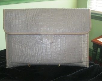 "Gray Vintage Crocodile Embossed ITALIAN LEATHER Clutch Handbag 15"" Wide"