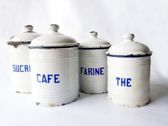 kitchen canisters french kitchen canisters setwhite enamelware 12965