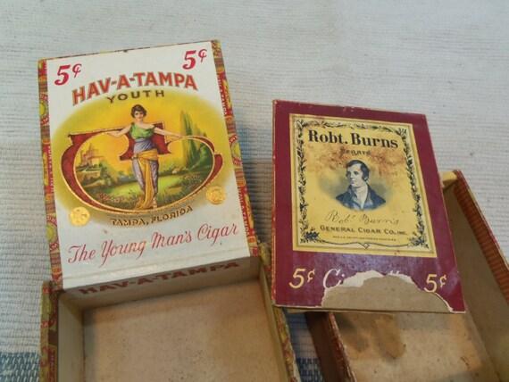 Items similar to sale 2 vintage cardboard cigar boxes for Cardboard cigar box crafts