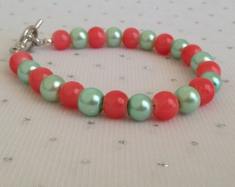 Coral and Mint Green Wedding Jewelry, Coral and Mint Bracelet, Beach Wedding, Coral and Seafoam Mint Green, Bridesmaid Gift, Beach Jewelry