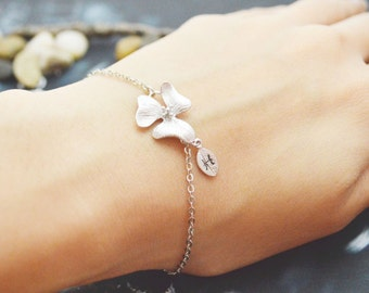 C-035 Personalized orchid flower bracelet, Hand stamped initial leaf, White gold plated
