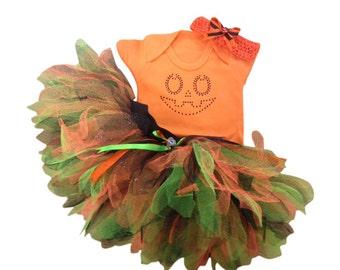 Halloween Orange Pumpkin Jack O Lantern Tutu Costume Baby Grow T-Shirt Fancy Dress