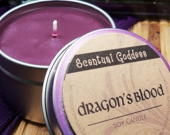 DRAGON'S BLOOD CANDLE - Deep Red -  Warm Woody Earthy Scent - 6 oz Soy Candle Tin - Dragon Incense Witch Wicca Wiccan Witchcraft Pagan