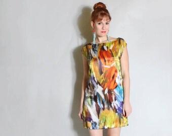 75 PERCENT OFF Brushstroke- digital print silk mini dress sz. XS