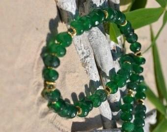 Emerald & Agate Necklace(JK 633)