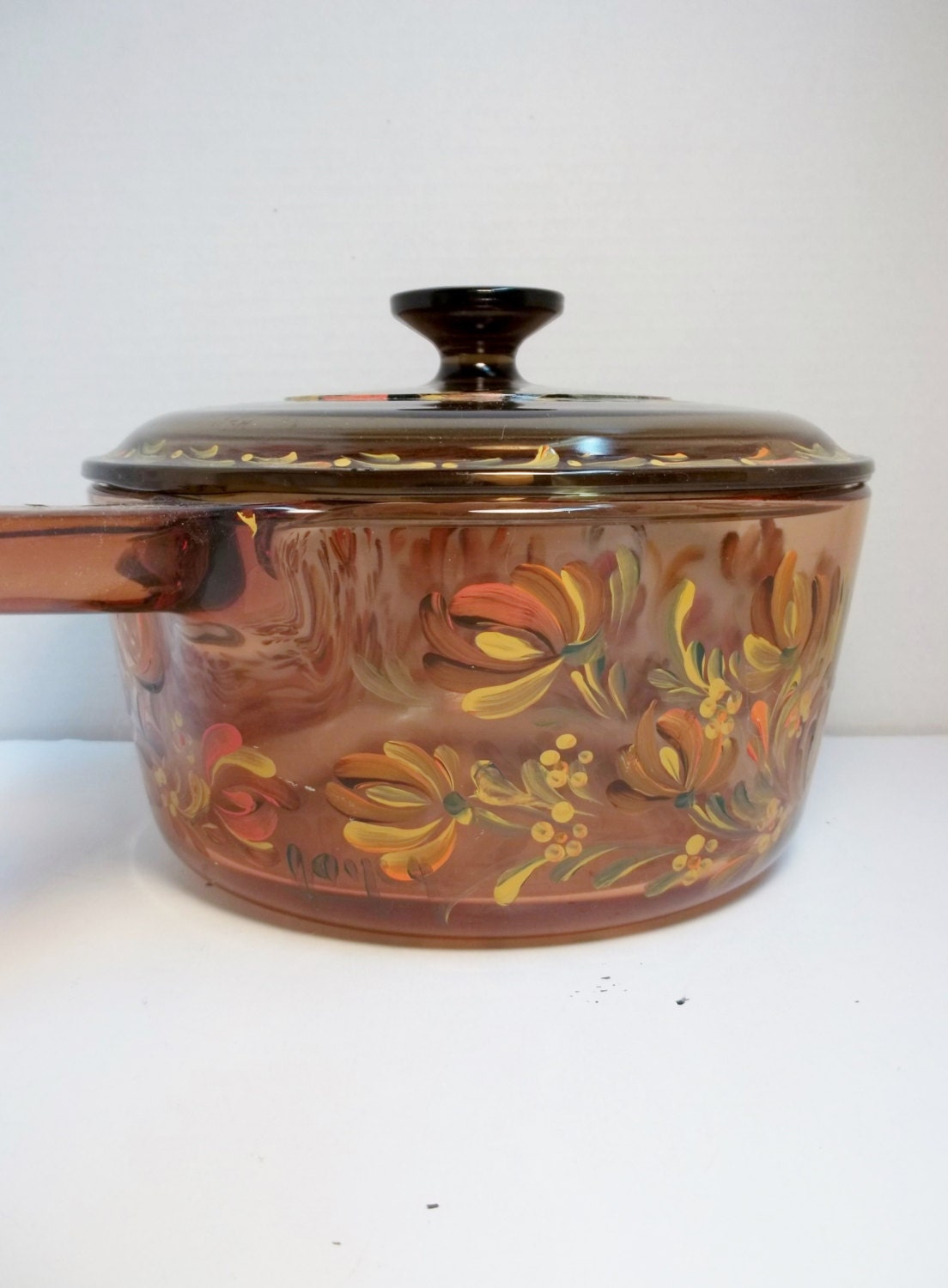 pyrex amber glass stove top cookware sauce pan ovenware hand. Black Bedroom Furniture Sets. Home Design Ideas
