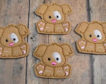 Tan Puppy Dog felties - feltie - Machine embroidered - felt applique - felt embellishments - hairbow center - scrapbook