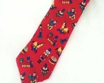 CHRISTMAS Men's Silk Toy Tie- Wonderful Children's Toys on a Red Holiday Silk Man's Tie