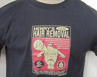 HENRY'S HAIR REMOVAL Black Vintage Tee Shirt Medium Size-Over 4 Billion Hairs Removed-Steve & Barry's University Sportswear