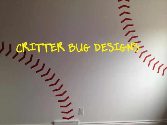 Baseball Stitches Wall Decal, red baseball stitches, wall sticker ...