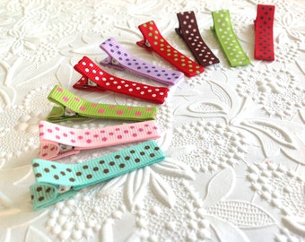 5 Baby hair clips: polka dots hair clips , alligator hair clips, Girls hair clips for infant and toddlers. baby clips, plain clips, lined