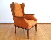 Mid Century Orange Arm Chair, Kid Furniture, Small Women's 1940's Arm Chair, Mid Century Modern Furniture, Unique Gift For Him Her, Gift