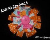 Toddler Girls Hair Clip BIG Scrap Fabric Flower White Pink Orange Matching Dress Available